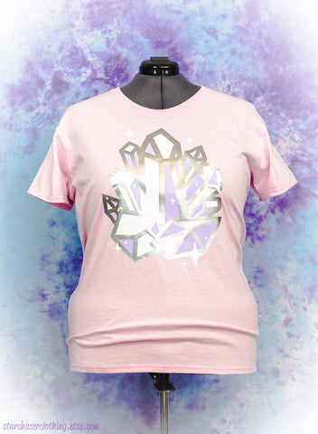 Crystal Cluster Metallic Sparkle Graphic Tee Fairy Kei Pastel Goth Creepy Cute
