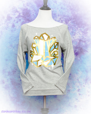 Crystal Cluster Metallic Sparkle 3/4 Sleeve Wide Neck Sweatshirt Fairy Kei Pastel Goth Creepy Cute