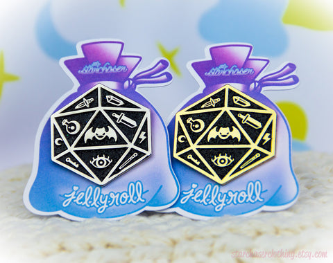 Jelly Roll Polyhedral Dice D20 Enamel Pin Fairy Kei Pastel Goth Creepy Cute