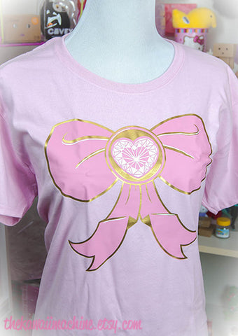 Magical Girl Bow Metallic and Pastel Graphic T Shirt Kawaii Fairy Kei Pastel Goth