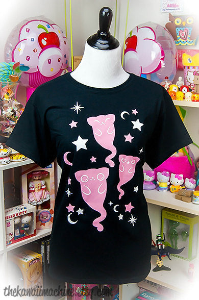 Ghostly Kitty Cats Graphic T Shirt Kawaii Fairy Kei Pastel Goth