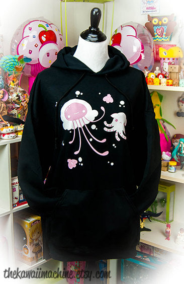 Pastellyfish Jellyfish and Octopus Pastel Womens Hoodie Hooded Sweatshirt Kawaii Fairy Kei Pastel Goth