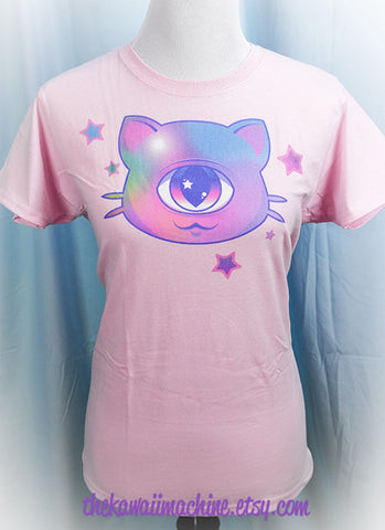 Mewclops Cyclops Kitty Cat Graphic T Shirt Kawaii Pastel Goth Fairy Kei