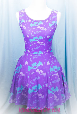 Graveyard Shift Printed Skater Dress (Bats, Moons, Stars)  Fairy Kei Pastel Goth Kawaii