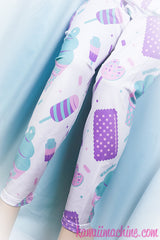 Sugar Pop Novelty Ice Cream Printed Leggings Fairy Kei Pastel Goth Kawaii
