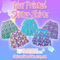 Starfall Printed Skater Skirt (Shooting Stars, Moons, and Sparkles)  Fairy Kei Pastel Goth Kawaii