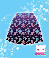 Graveyard Ghosts Printed Skater Skirt  Fairy Kei Pastel Goth Kawaii