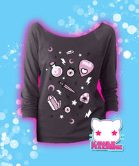 Oracle, Off Shoulder Sweater, Pastel Goth Clothing, Fairy Kei, Soft Grunge, Aesthetic Clothing, Kawaii