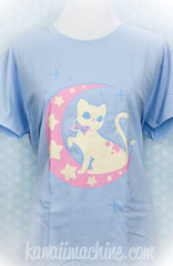 Moonlight Kitty Crescent Moon and Stars Graphic T Shirt Kawaii Fairy Kei Pastel Goth