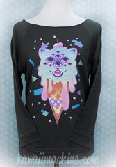 Revenge of Mewclops 3/4 Sleeve Wideneck Sweatshirt Kawaii Fairy Kei Pastel Goth