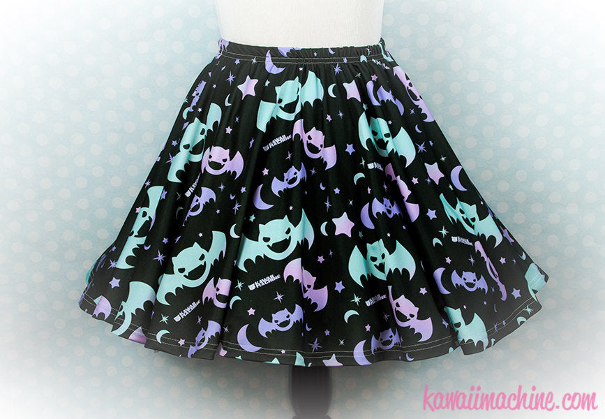 Graveyard Shift Printed Skater Skirt (Bats, Moons, Stars)  Fairy Kei Pastel Goth Kawaii