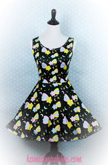 Starfall Printed Skater Dress (Shooting Stars, Moons, and Sparkles)  Fairy Kei Pastel Goth Kawaii