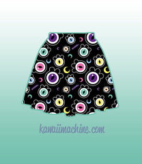The Eyes Have It Creepy Cute Eyeballs Skater Skirt Fairy Kei Pastel Goth Kawaii