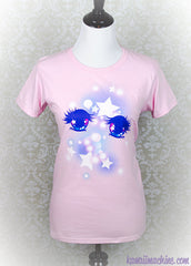 Shoujo Manga Anime Eyes Graphic T Shirt Kawaii Fairy Kei Pastel Goth