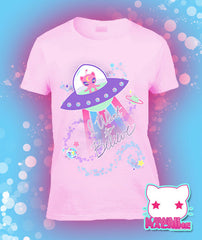 Conspiracy Cutie Alien Kitty Graphic T Shirt Kawaii Fairy Kei Pastel Goth