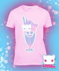 Sugar Pop Sweet Cream Sundae Kitty Cat Graphic T Shirt Kawaii Fairy Kei Pastel Goth