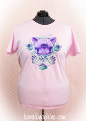 Janus Two Faced Cat Graphic T Shirt Pastel Goth Creepy Cute