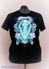 Clever Girl Velociraptor Skull and Flowers T Shirt Kawaii Fairy Kei Pastel Goth