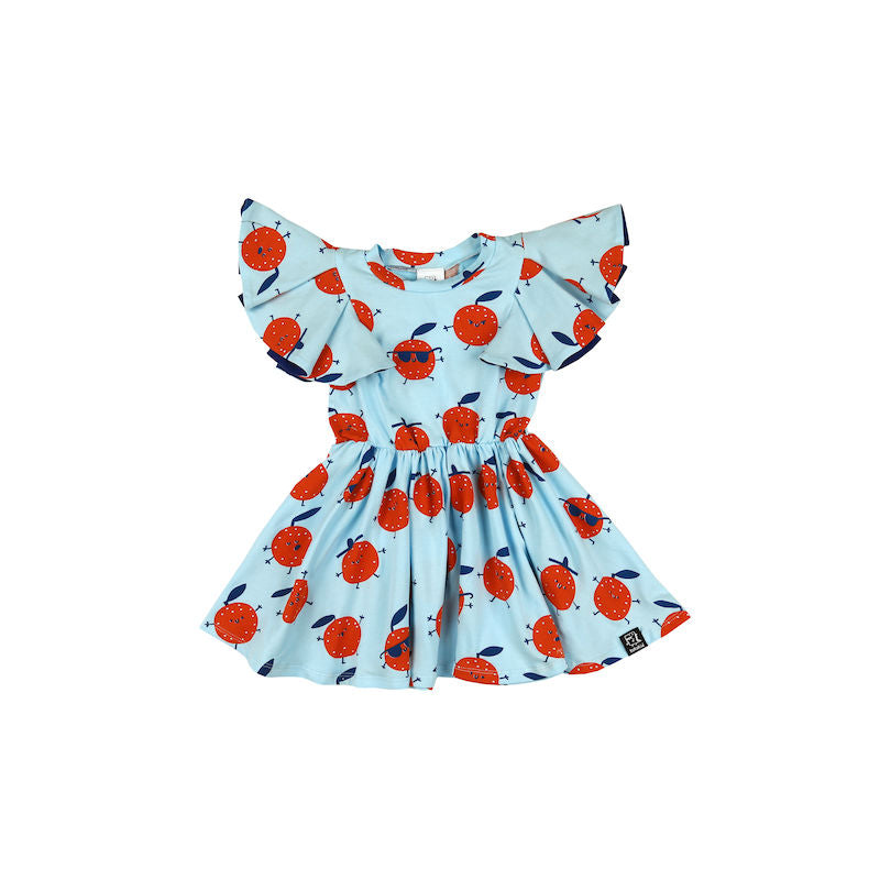 Kukukid Pom pom Dress Light Blue Oranges