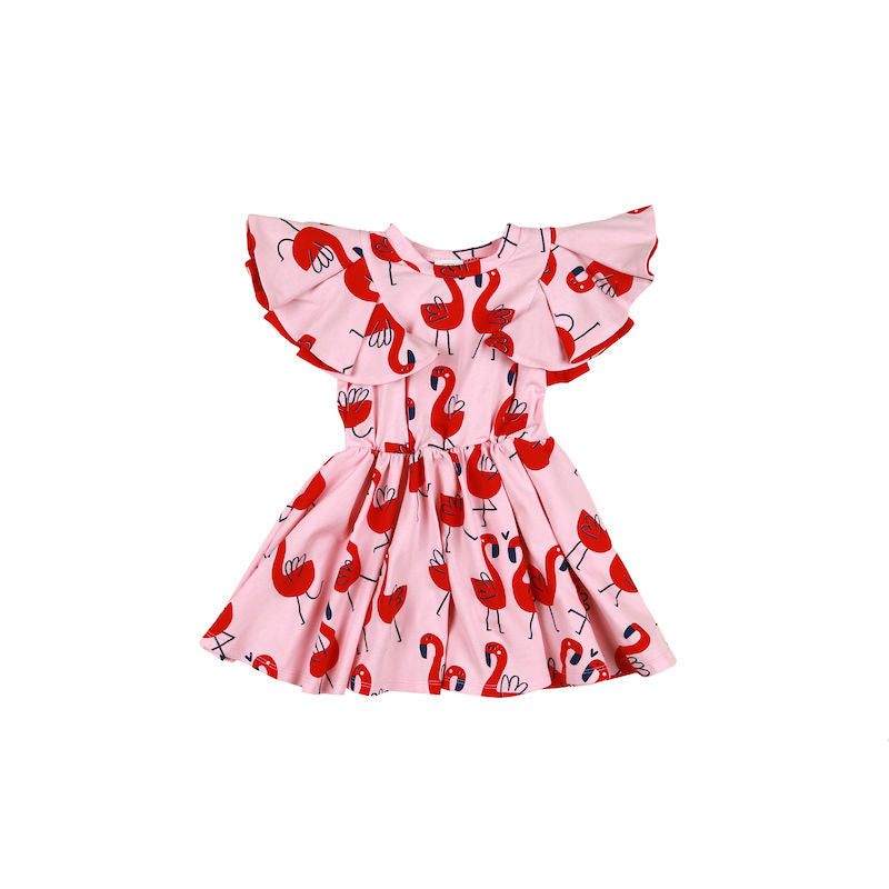 Kukukid Pom pom Dress Pink Flamings