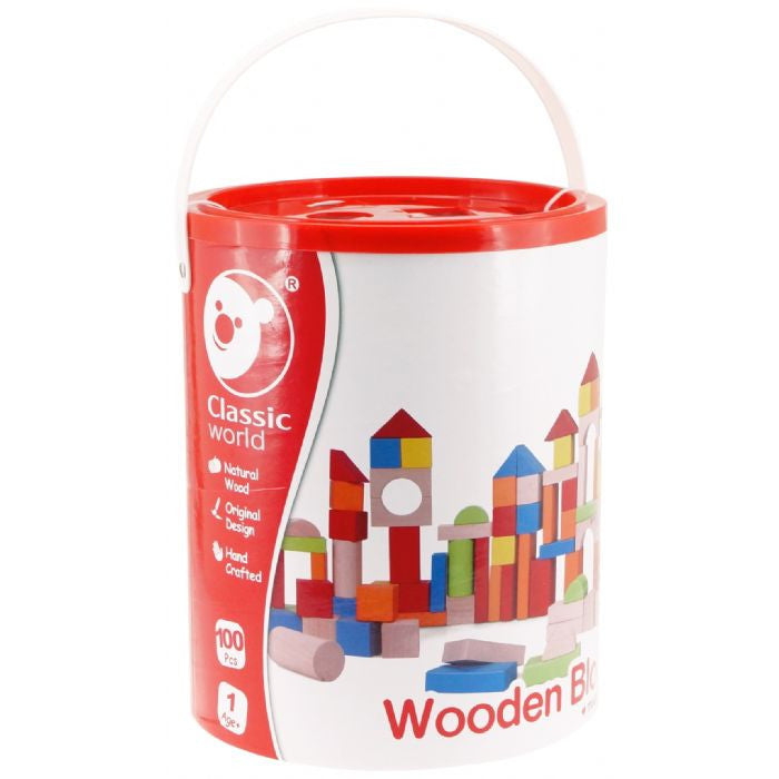Classic World 100 Piece Wooden Block Barrel