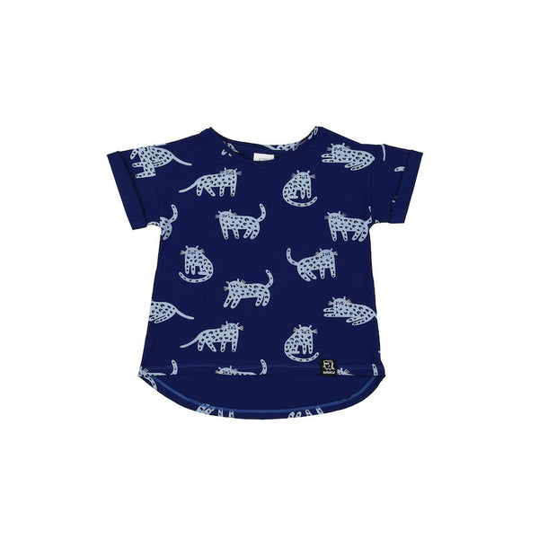Kukukid T-Shirt Blue Cheetah