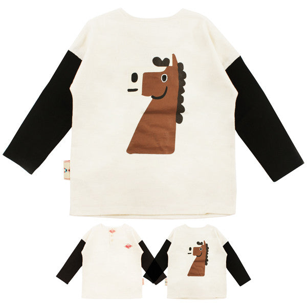 Bebedepino Pony color block button tee