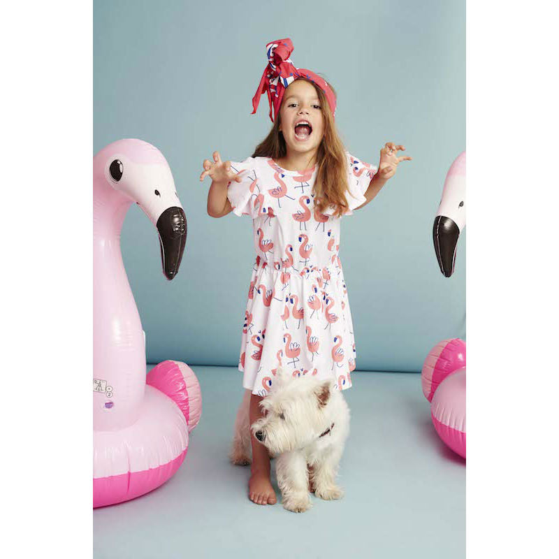 Kukukid Pom pom Dress White Flamings