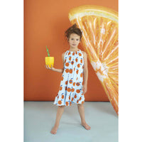 Kukukid Bow Dress Light Blue Orange