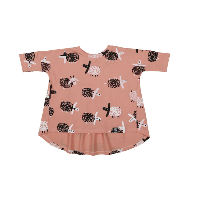 Kukukid OVERSIZED TUNIC PEACH SHEEP