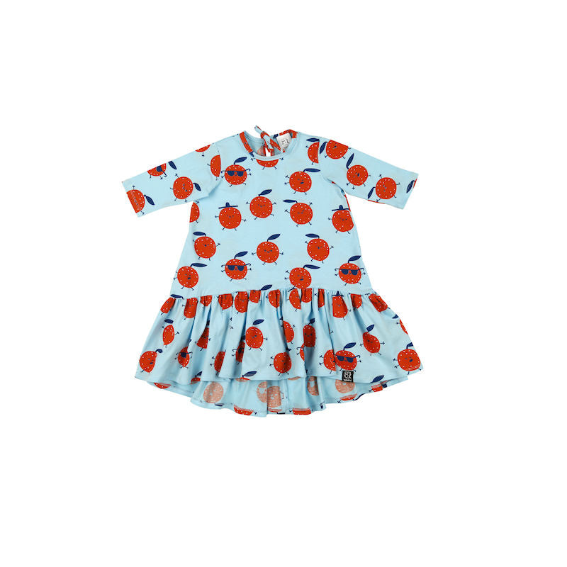 Kukukid Longsleeve Dress Light Blue Orange