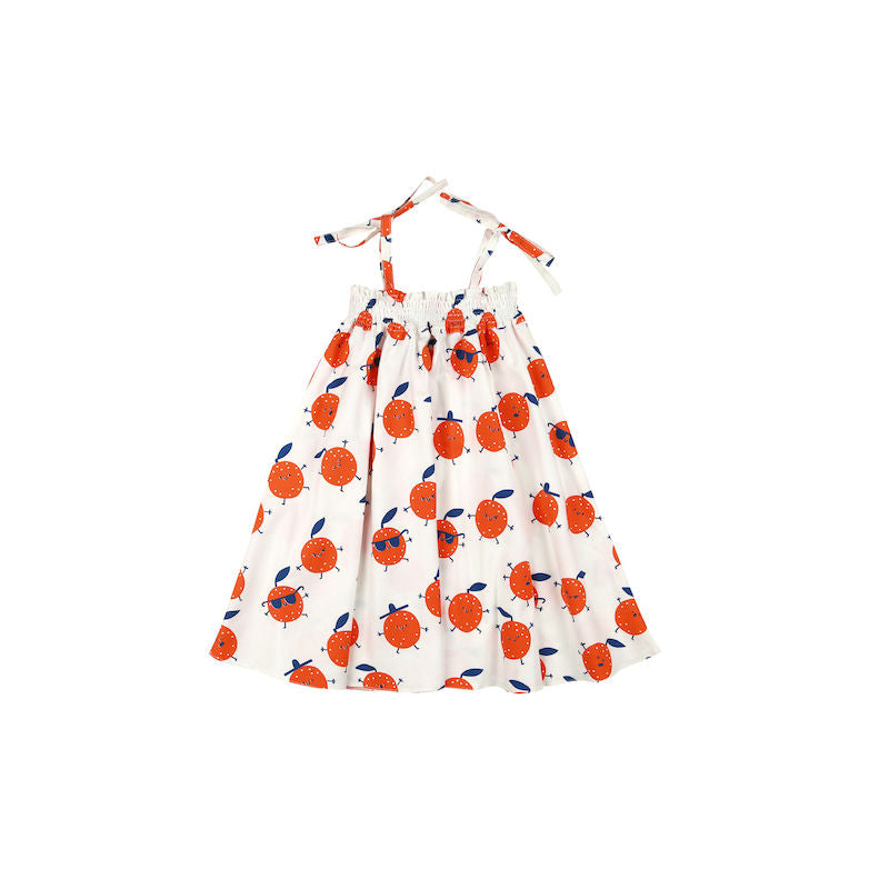 Kukukid Shoulder Strap Dress White Orange