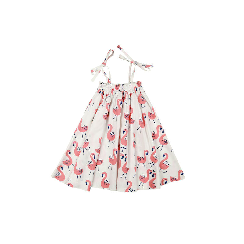 Kukukid Shoulder Strap Dress White Flamings