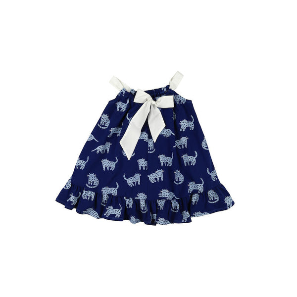 Kukukid Bow Dress Berry Blue Cheetah