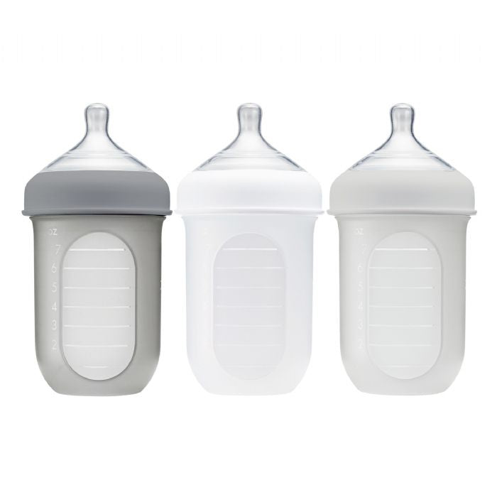 Boon Nursh Silicone Bottle 8oz - Grey 3pk