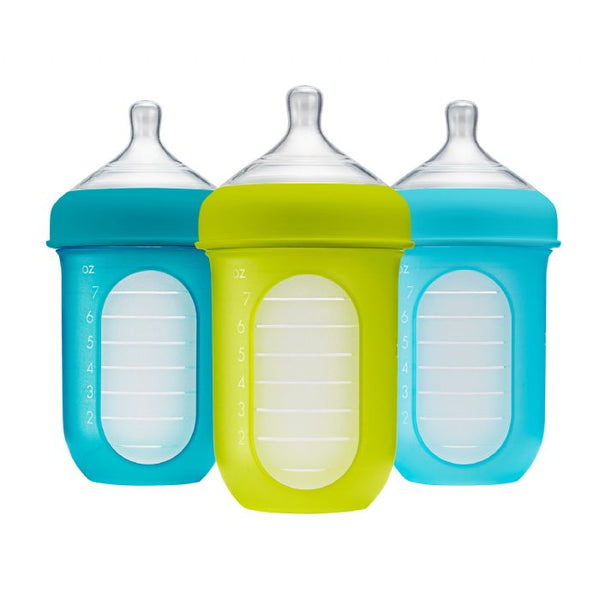 Boon Nursh Silicone Bottle 8oz - Blue 3pk