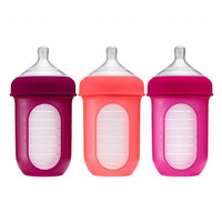 Boon Nursh Silicone Bottle 8oz - Pink 3pk