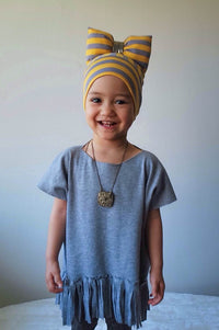 BigBowBow Beanie with Bow in Yellow and Grey Stripe