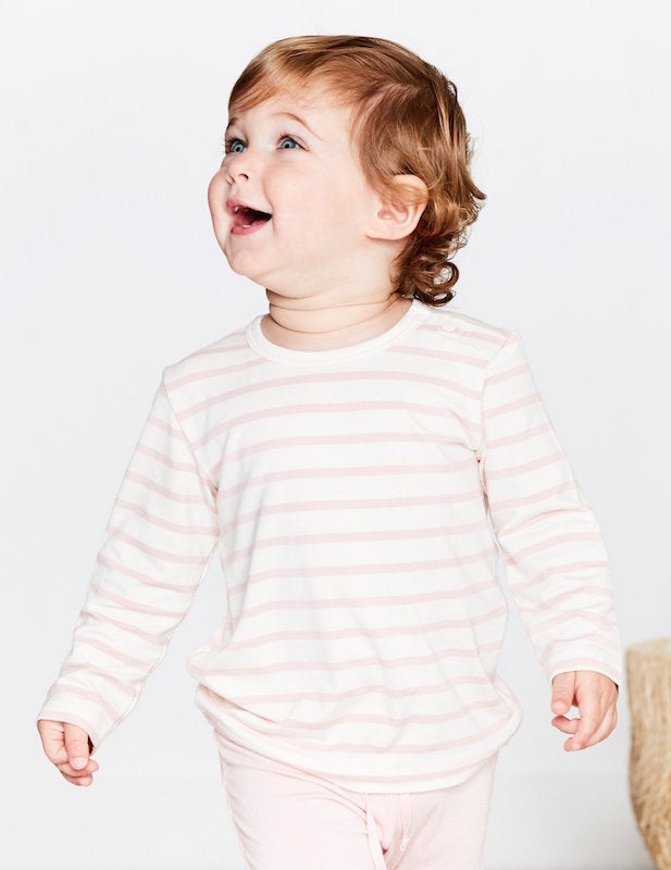 Boody Baby Stripe Long Sleeve Top Rose