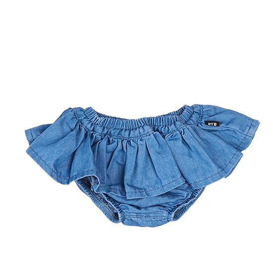 Rock Your Baby Chambray Ruffle Skirt
