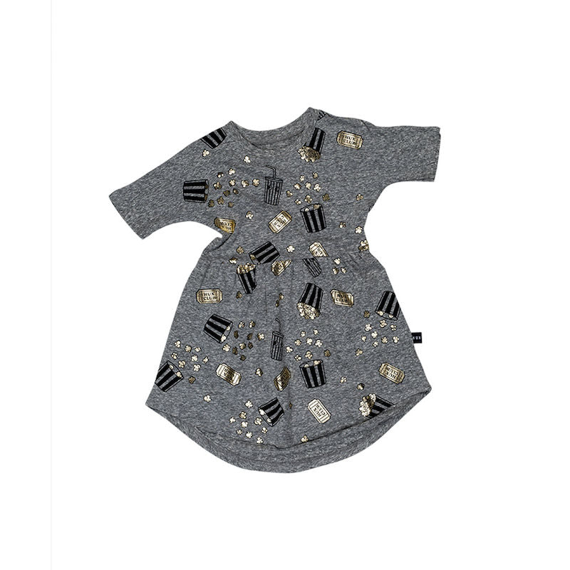 Huxbaby Popcorn Swirl Dress Charcoal Slub