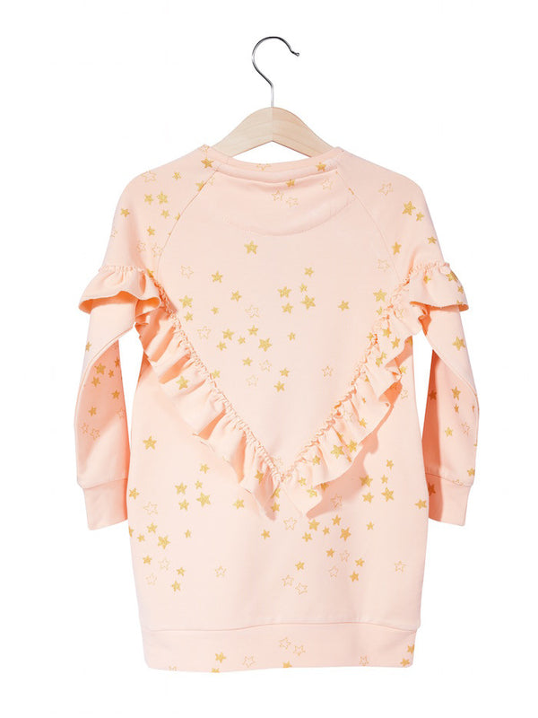 Kukukid WINGS DRESS GOLDEN STARS PINK