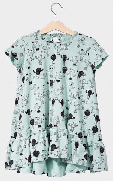 Kukukid DRESS/SHORTSLEEVE Aquamarine Cactus