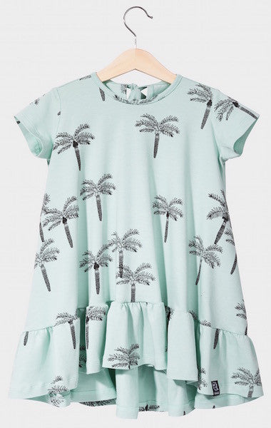 Kukukid DRESS/SHORTSLEEVE Aquamarine Palms