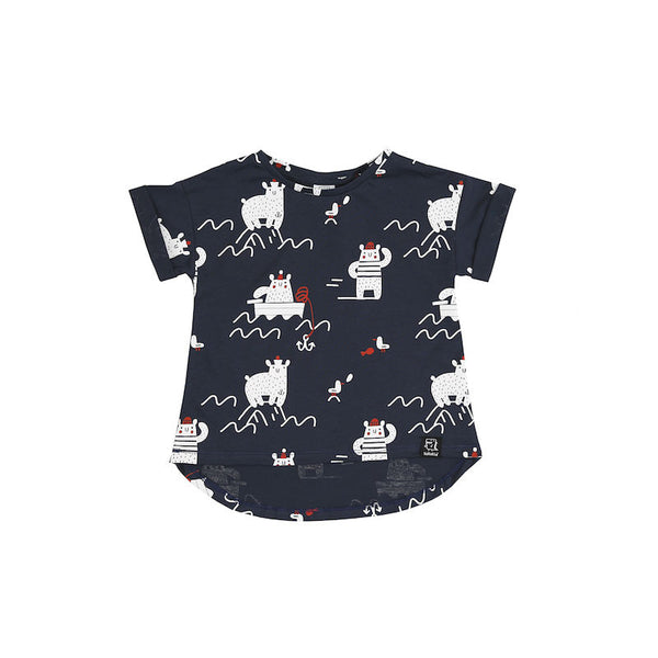 Kukukid T-Shirt Navy Blue Polar Bear