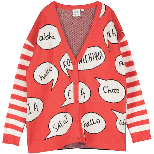 Beau Loves Knit Cardigan Red, Hello, Speech Bubbles