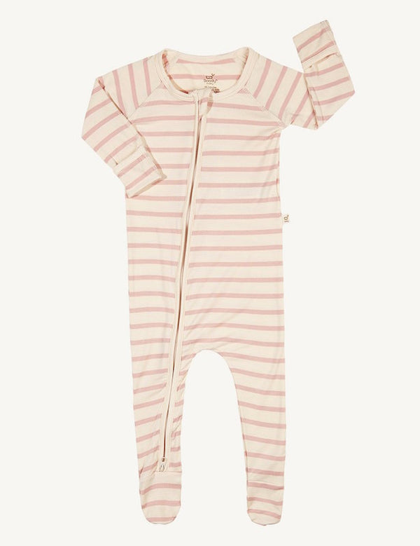 Boody Baby Stripe Long Sleeve Onesie Rose
