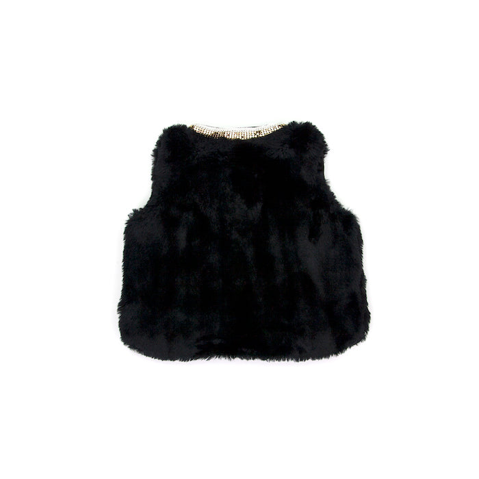 Sudo Mini Miss Molly Faux Fur Vest-Atomic Black