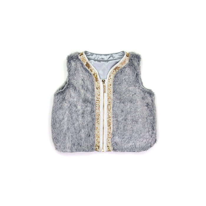 Sudo Mini Miss Molly Faux Fur Vest-Silver Haze