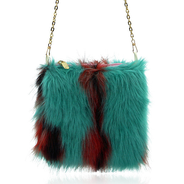 Milk & Soda INES FAUX FUR CROSS BODY SEA FOAM